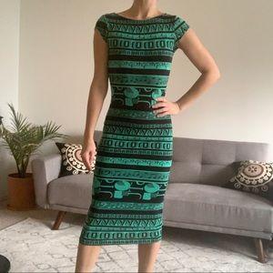 ASOS scoop back tribal bodycon midi dress